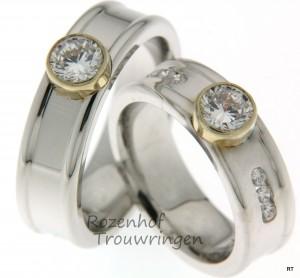 Luxueuze trouwringen witgoud en geelgoud met prachtige diamanten