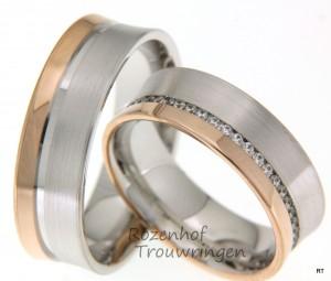 Warme bicolor trouwringen met fonkelende diamanten